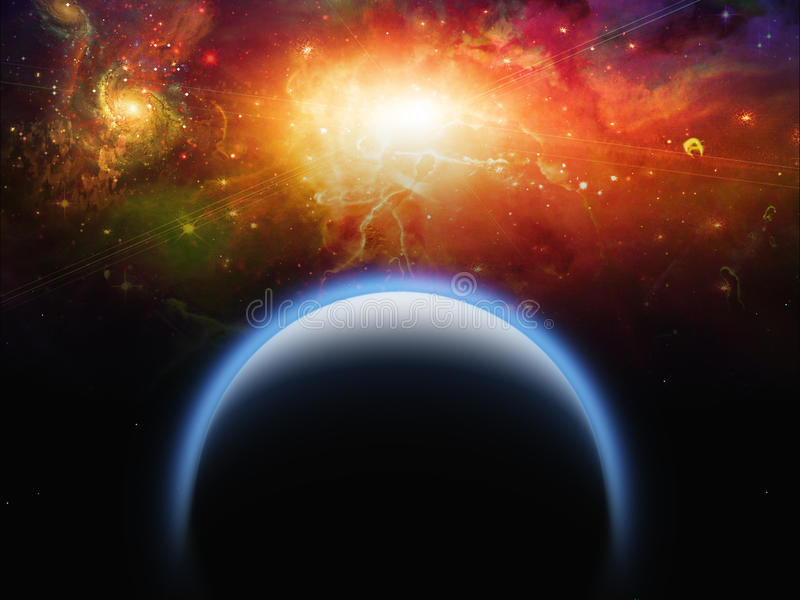 Planet and Star Scape royalty free illustration
