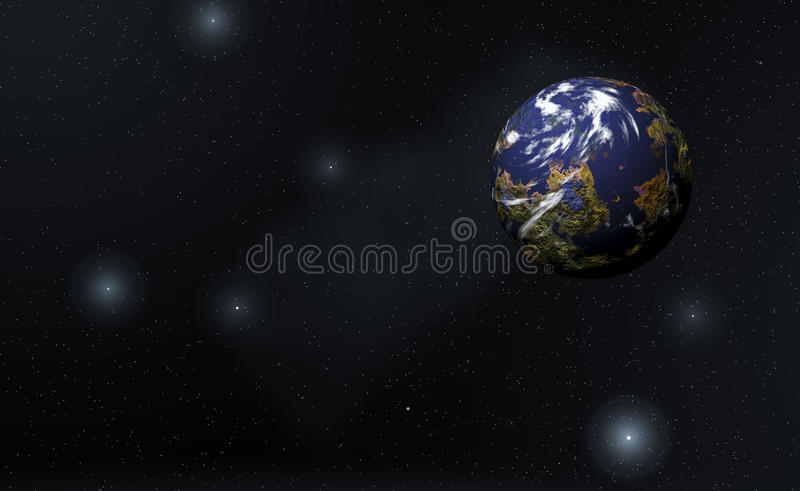 Planet and stars royalty free illustration