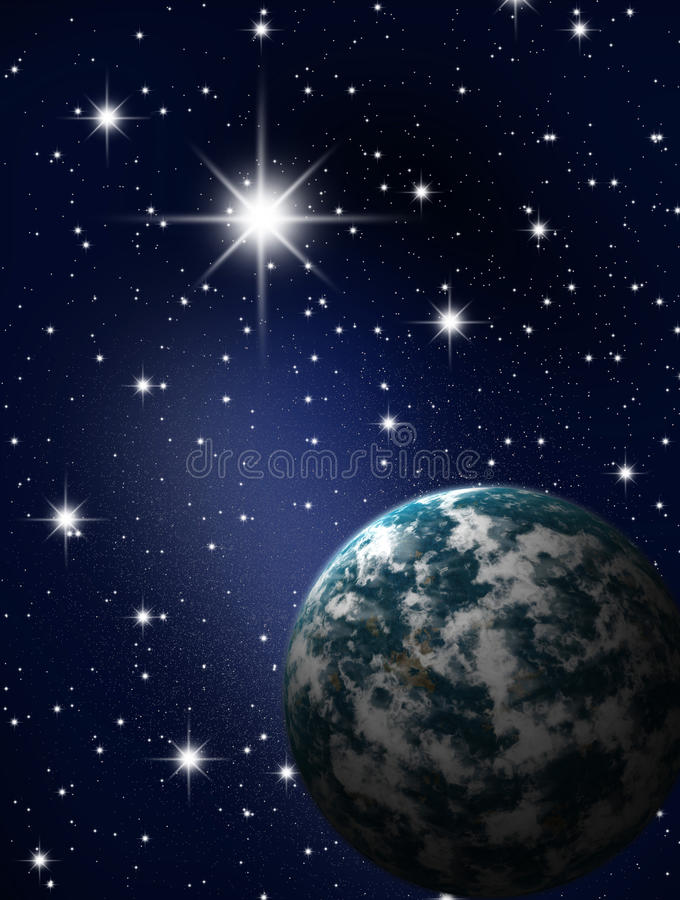 Planet in stars sky royalty free illustration