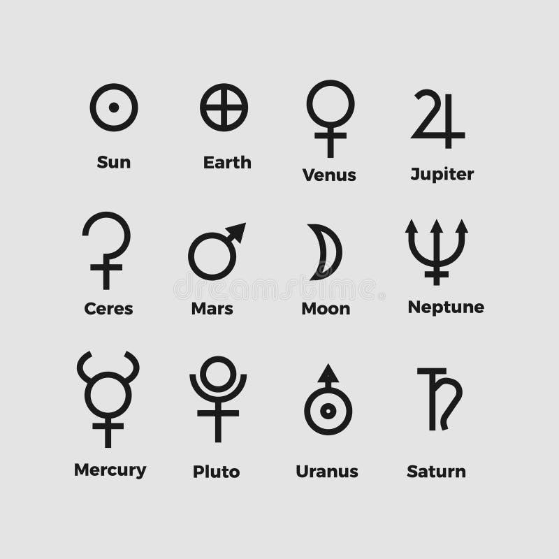 Planet symbols vector stock illustration