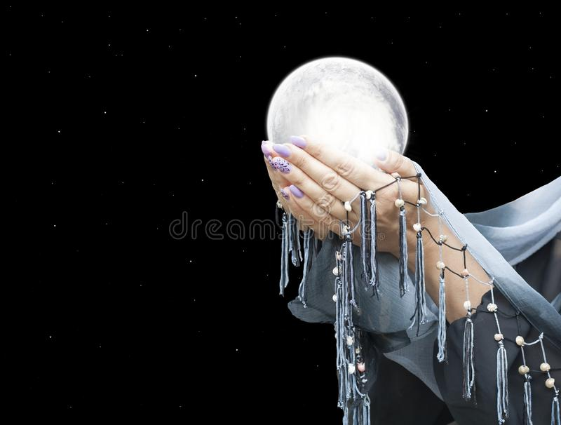 Planet system in your hands stock photos