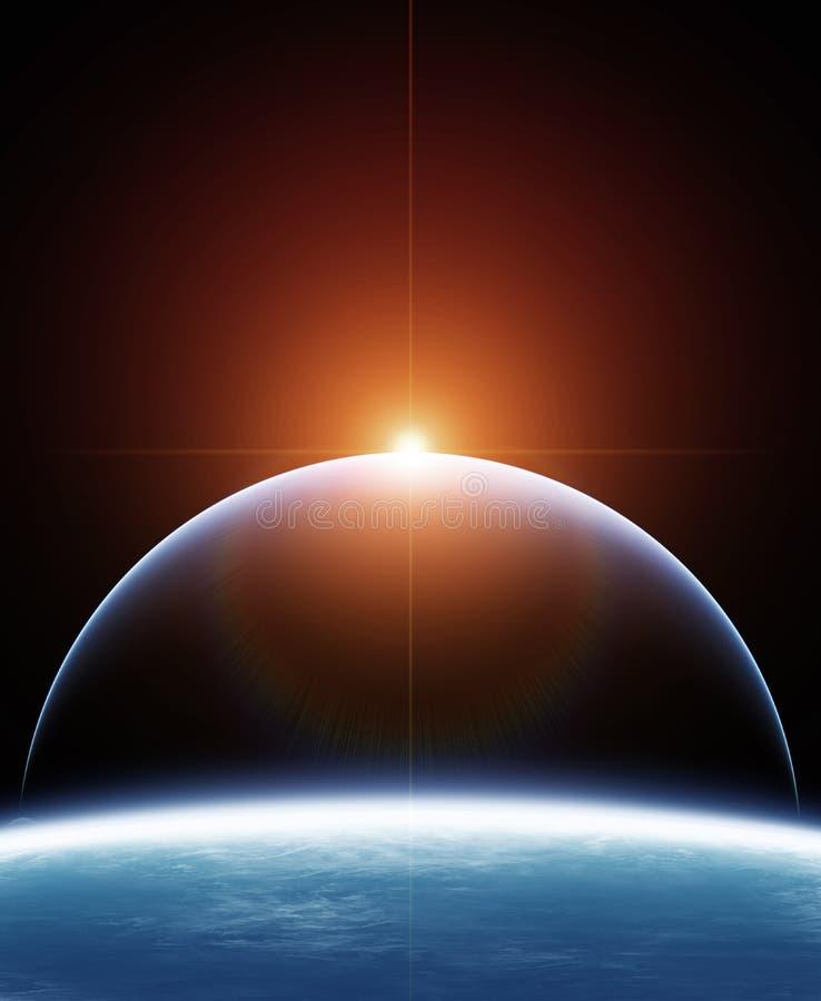 Planet två med stjärnskottet vektor illustrationer