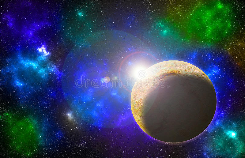 Planet view on space full stars. Fantasy planet view on a blue colorful space full of stars royalty free illustration