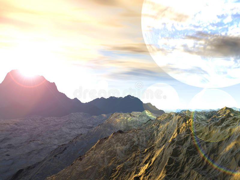 Planet von Stürmen Wiedergabe 3d stock abbildung