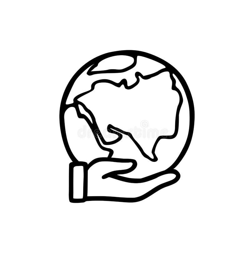 Planeta à disposicão Linha desenhado à mão ícone do vetor da terra à disposição ilustração stock