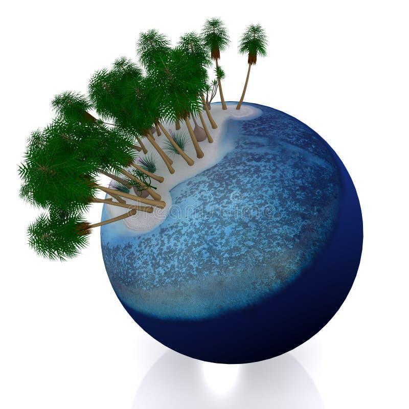 planeta 3d tropical ilustração royalty free