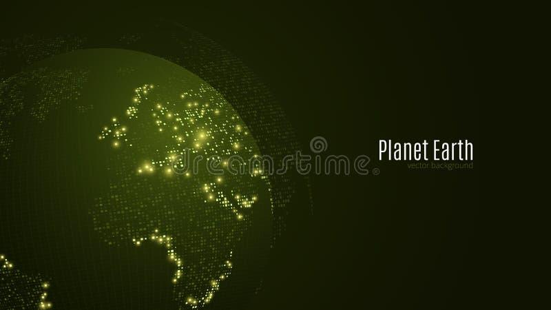 Planeta abstracto en un fondo verde oscuro Tierra Correspondencia de mundo Luz verde Ciencia ficción y de alta tecnología Ciudade ilustración del vector