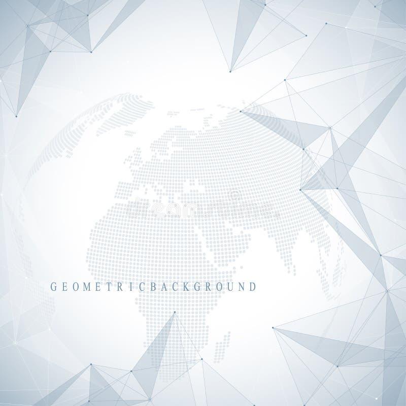 Planeta abstracto tridimensional del fondo Compuestos virtuales de la comunicación o de la partícula del fondo Red global libre illustration