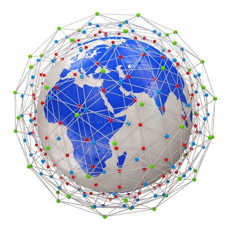 Planeta abstrato da rede isolado no backgrou branco ilustração stock