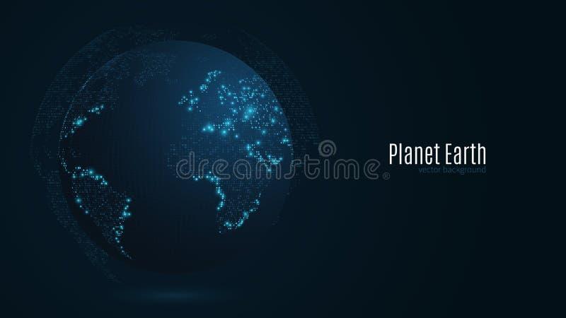 Planeta abstrato em uma obscuridade - fundo azul Terra Mapa de mundo Luz azul Ficção científica e olá!-tecnologia Cidades grandes ilustração do vetor