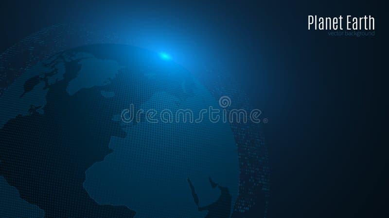 Planeta abstrato em uma obscuridade - fundo azul Terra Mapa de mundo Luz azul Ficção científica e olá!-tecnologia A população de  ilustração stock