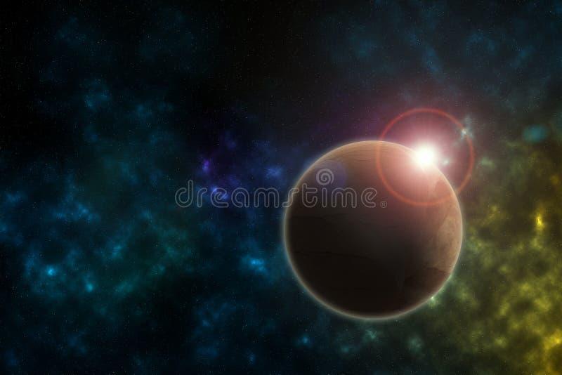 Planeta alaranjado no espaço e nos alargamentos da luz solar ilustração do vetor