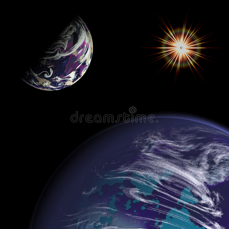 Planeta & Sun Imagem de Stock