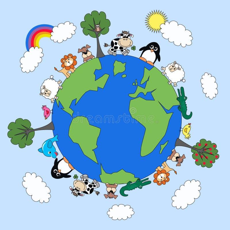 Planeta animal ilustração stock