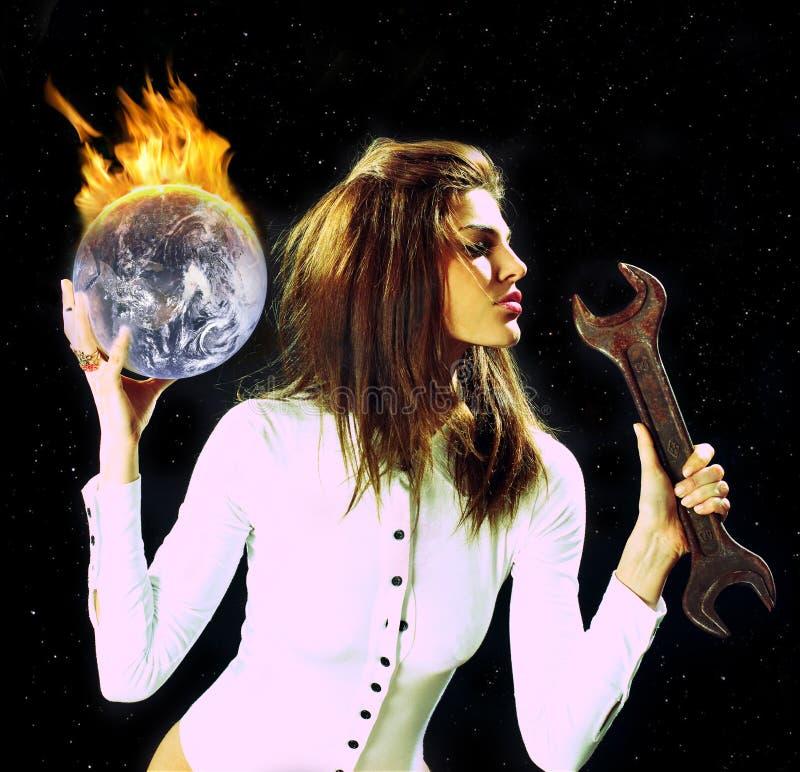 Planeta ardente foto de stock royalty free
