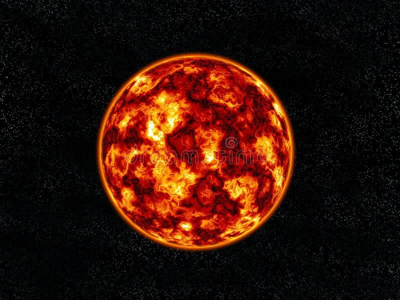 Planeta ardiente. ilustración del vector