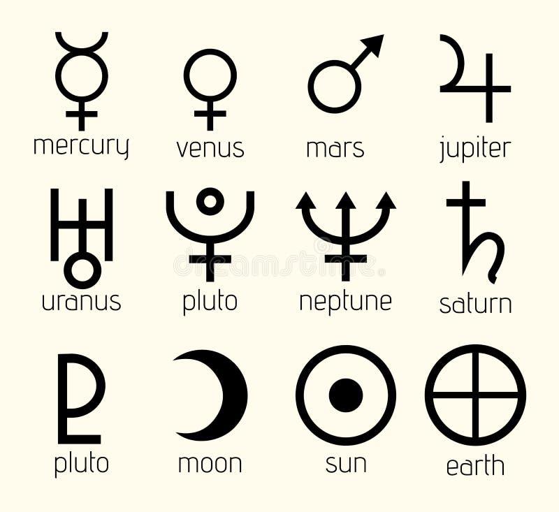 Planeta astrológico, ejemplo astronómico del vector del sistema de símbolos stock de ilustración