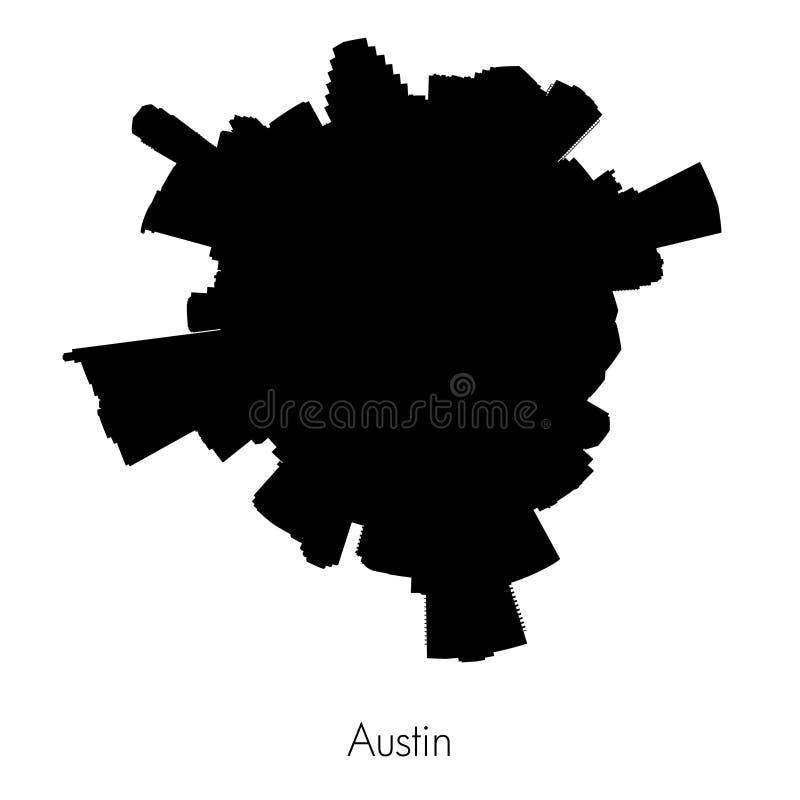 Planeta Austin, capital del horizonte circular de la silueta del vector de Tejas libre illustration