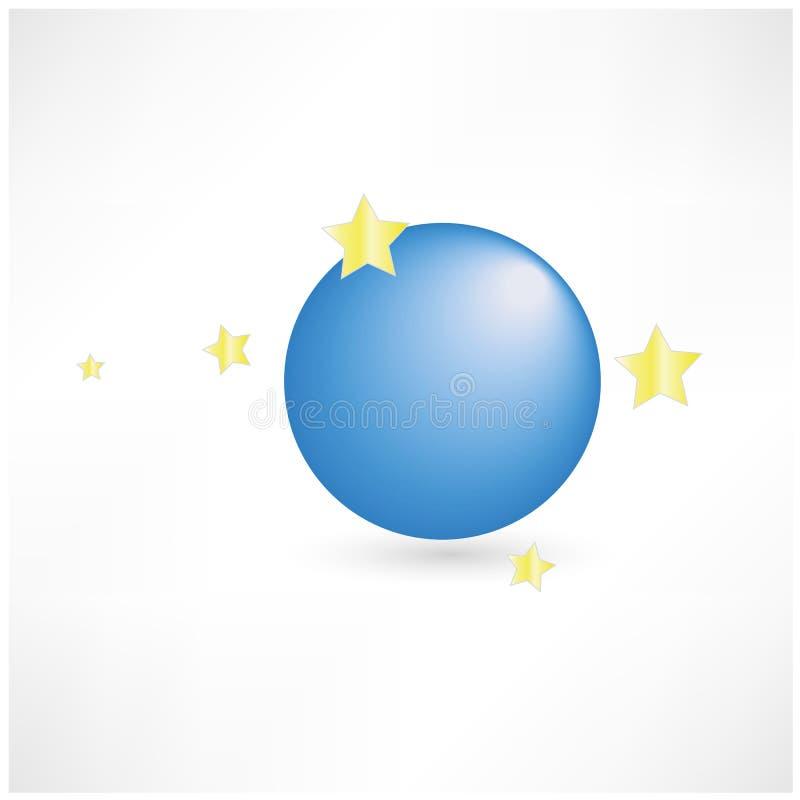 Planeta azul abstracto con el icono del vector de las estrellas fotos de archivo
