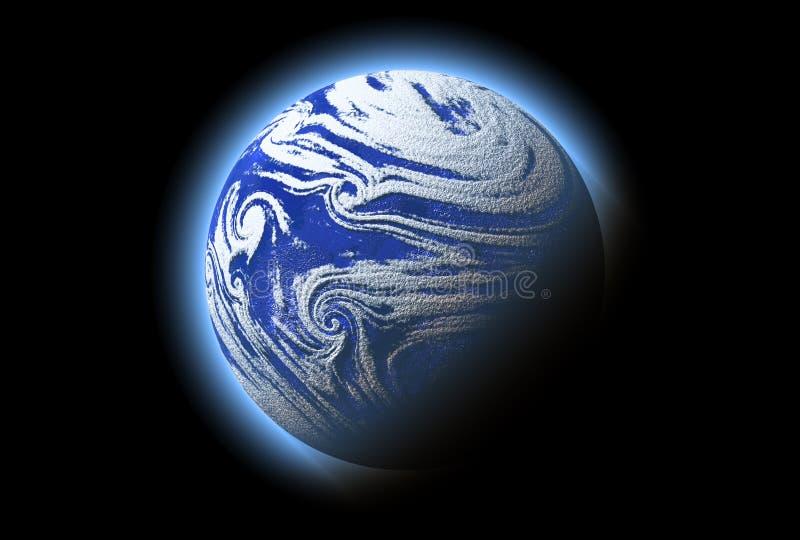 Planeta azul abstrato com atmosfera, cosmos, foto de stock