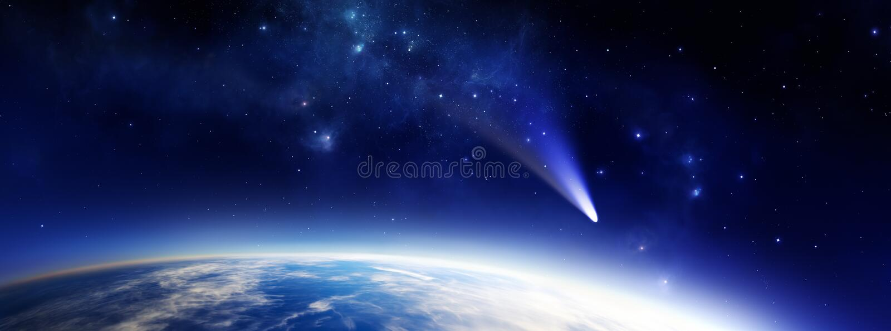 Planeta azul com cometa ilustração royalty free