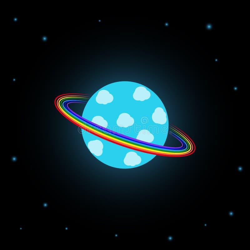 Planeta azul con los anillos del arco iris stock de ilustración