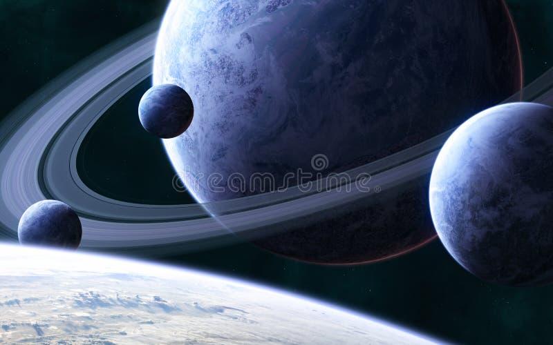 Planeta azul con un sistema de anillos y satélites en el espacio profundo Ciencia ficción foto de archivo