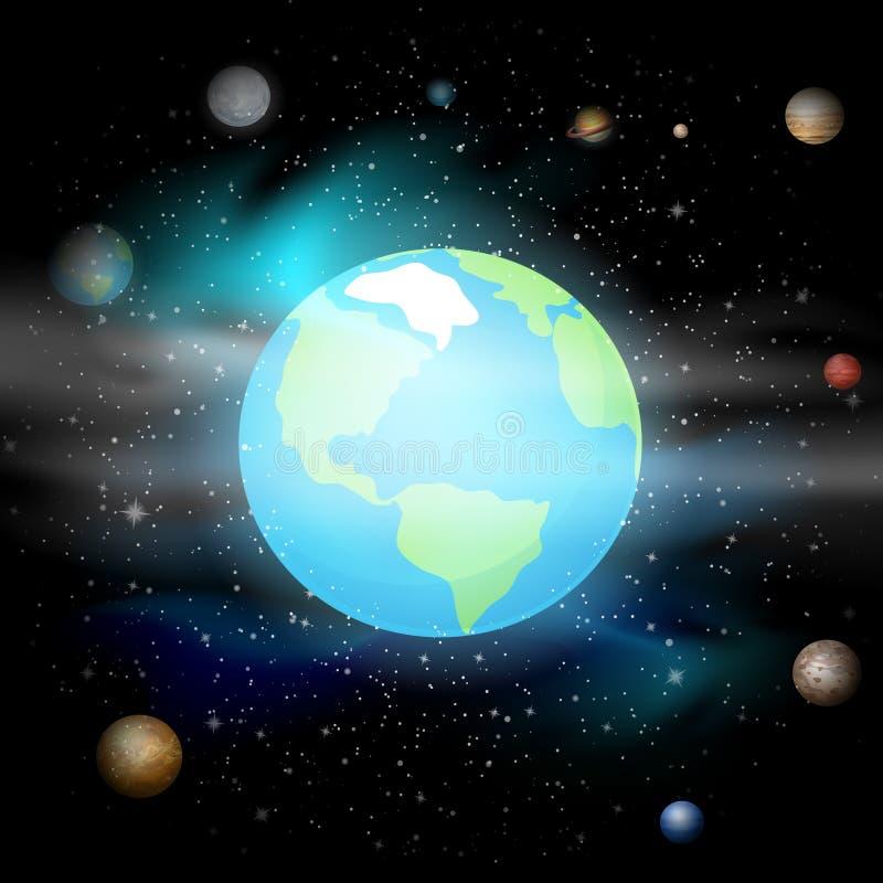 Planeta azul contra el universo Sistema Solar Tierra en fondo del espacio Ilustración del vector del EPS 10 stock de ilustración