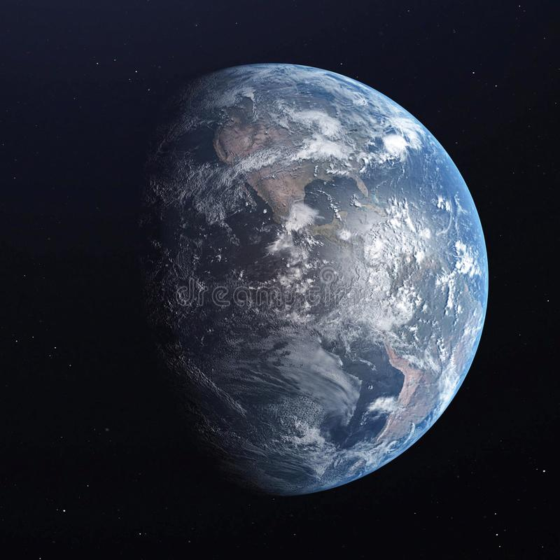 Planeta azul da terra isolado no fundo preto 3d rendem ilustração stock