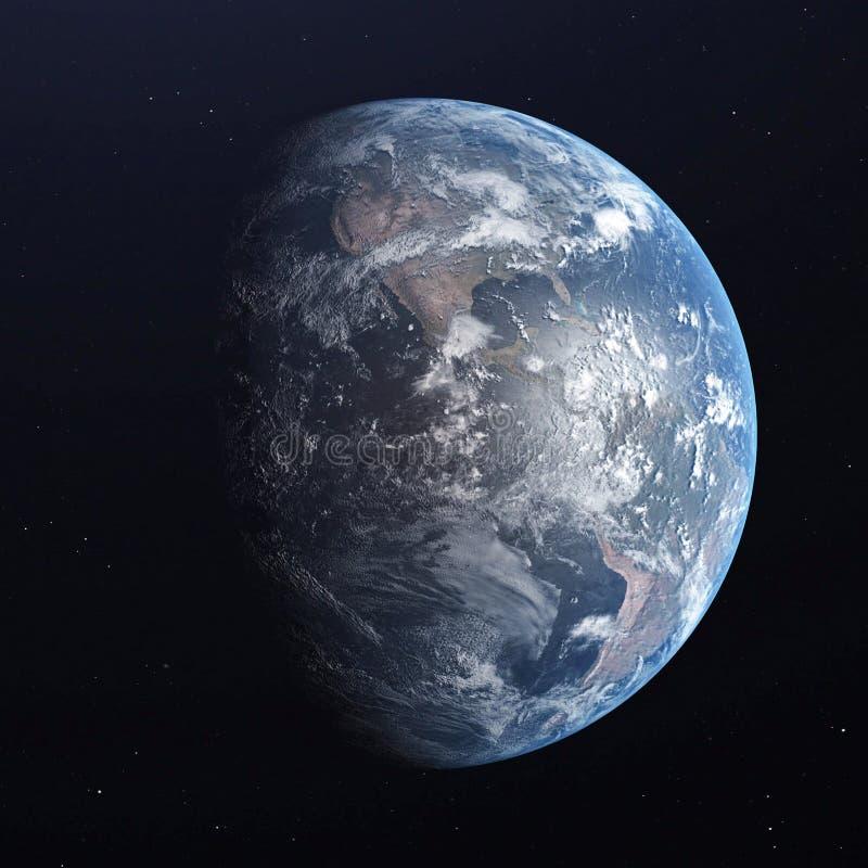 Planeta azul de la tierra aislado en fondo negro 3d rinden stock de ilustración