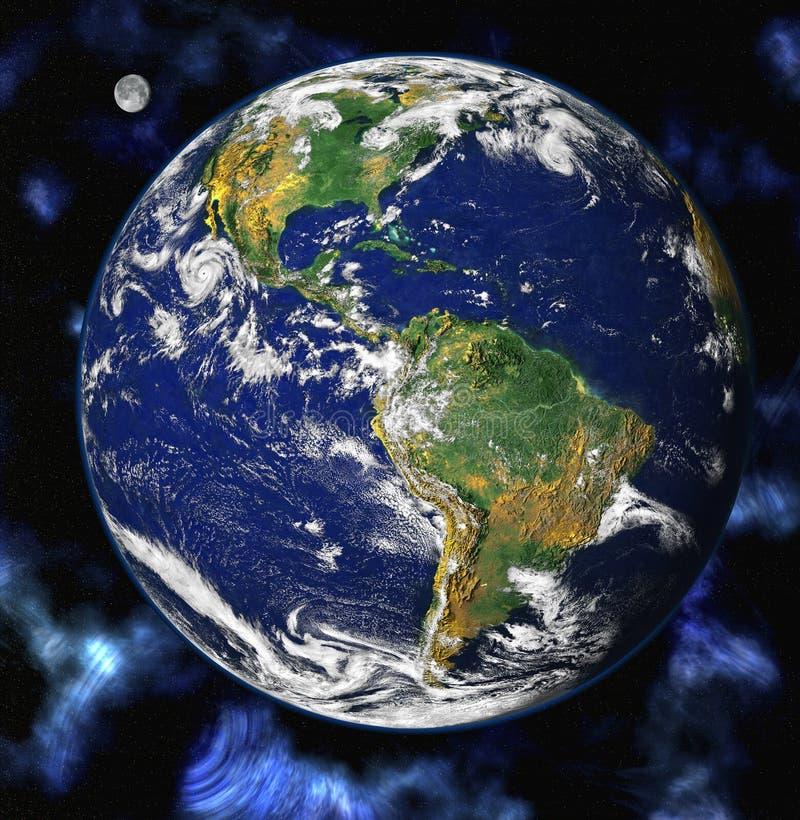 Planeta azul de la tierra en espacio ilustración del vector