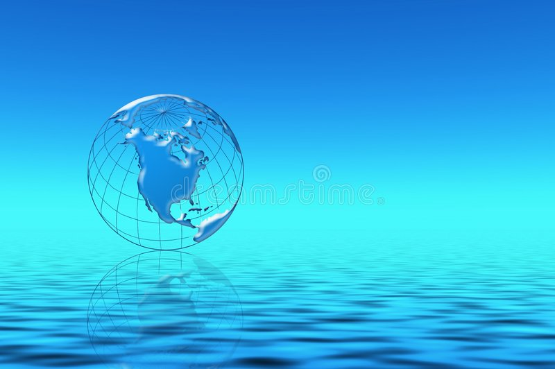 Planeta Azul En Agua Imagen de archivo