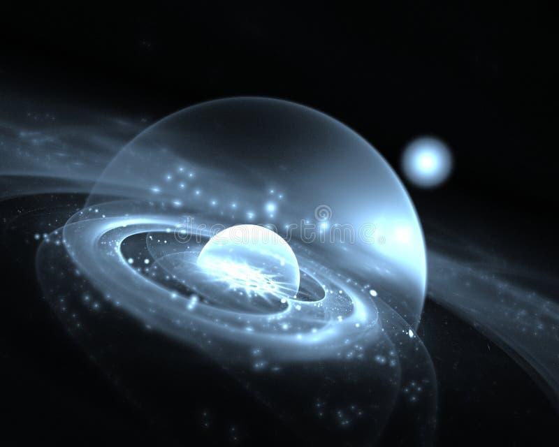 Planeta azul en espacio Gráficos del fractal wallpapers stock de ilustración