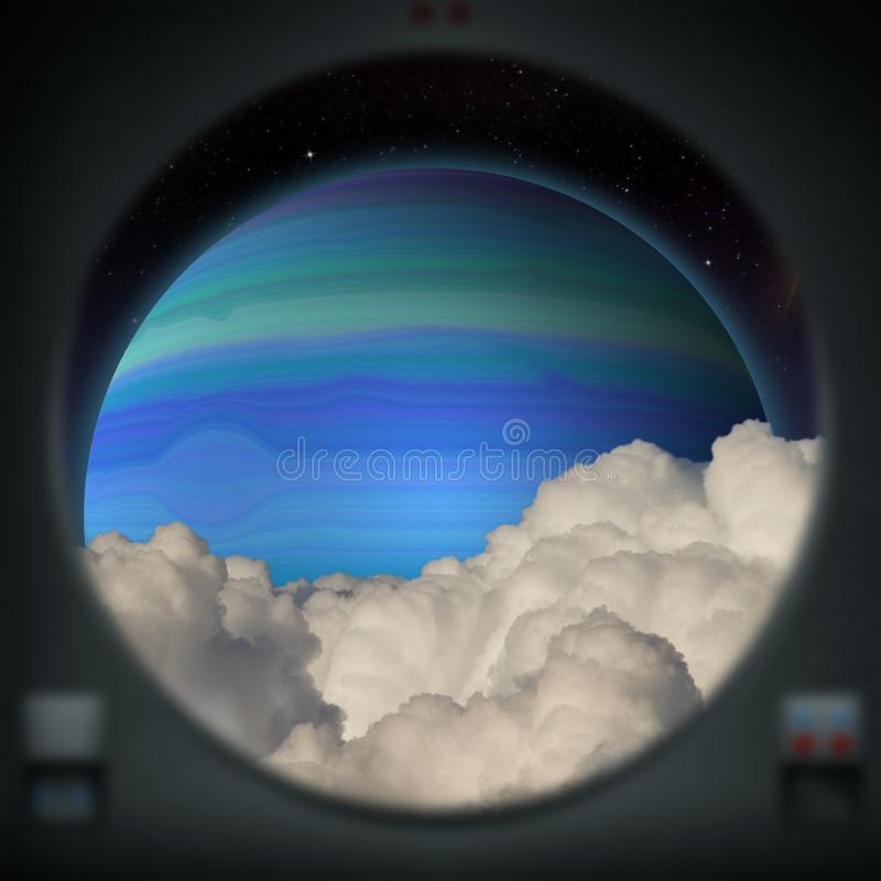 Planeta azul estrangeiro do gigante de gás como visto de uma janela da nave espacial ilustração stock
