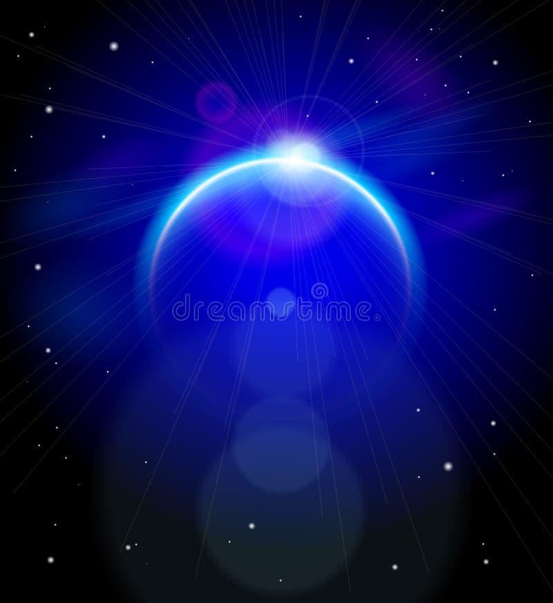 Planeta azul nas profundidades do espaço ilustração do vetor