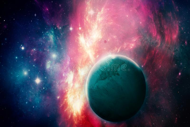 Planeta ciano abstrato artístico em uma galáxia de incandescência colorido ilustração do vetor