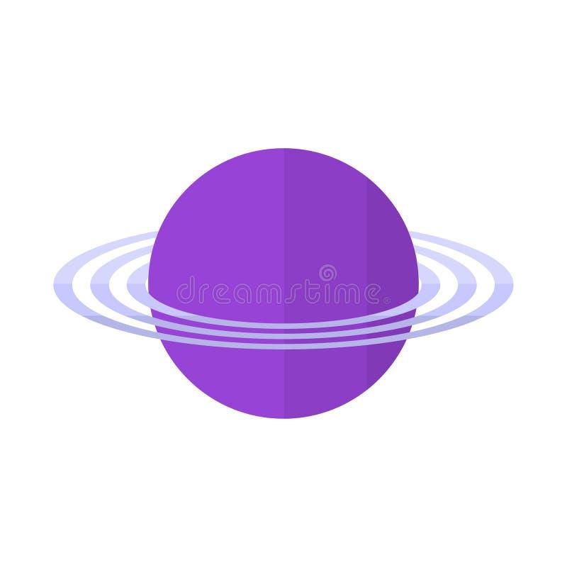 Planeta com anéis no estilo liso - planeta com o ícone dos anéis isolado no branco ilustração stock