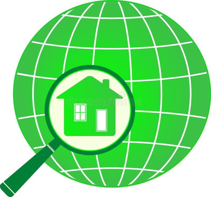 Planeta com a casa no magnifier ilustração stock