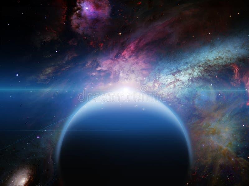 Planeta com filamentos dos nebulos ilustração stock