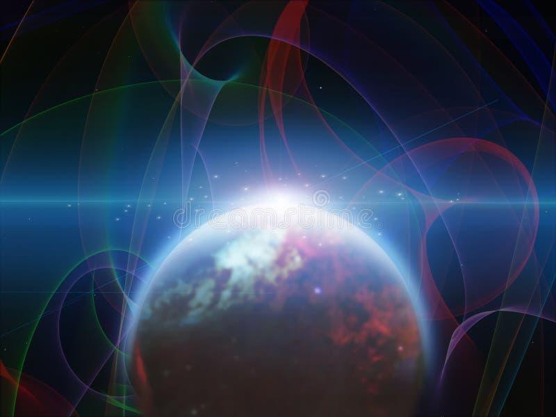 Planeta com filamentos dos nebulos ilustração do vetor