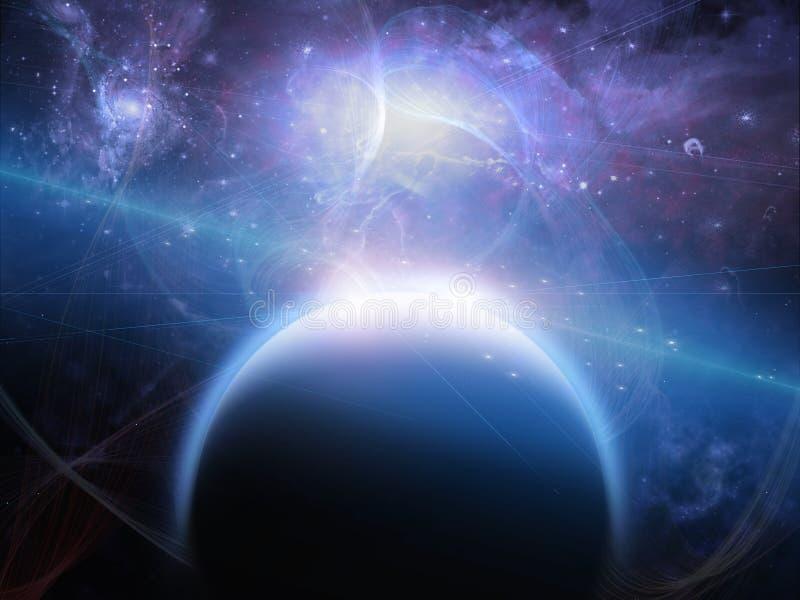 Planeta com filamentos nebulous ilustração stock