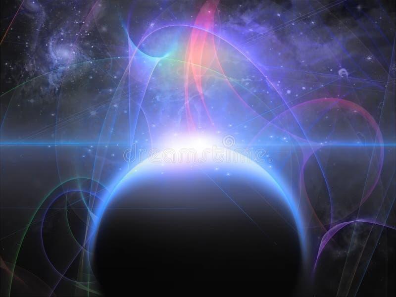 Planeta com filamentos nebulous ilustração royalty free