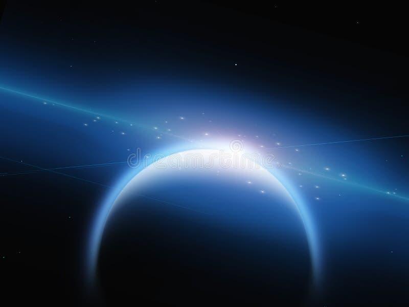 Planeta com filamentos nebulous ilustração do vetor