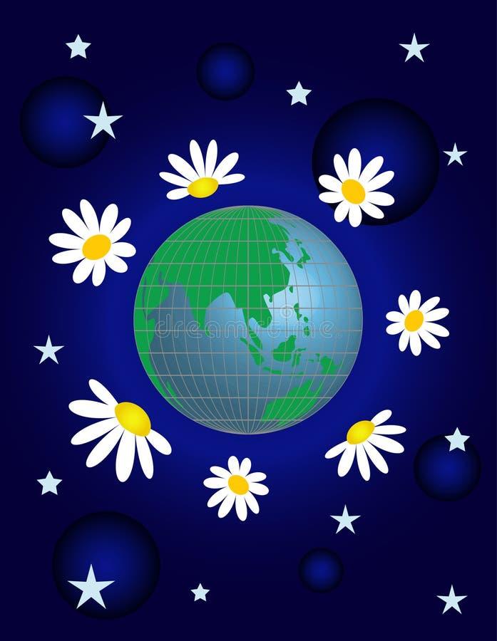 Planeta com flor ilustração do vetor
