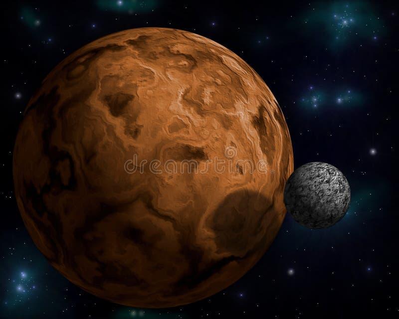 Planeta com lua dos it´s ilustração stock