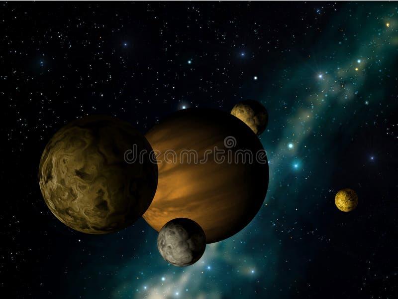 Planeta com luas dos it´s ilustração do vetor