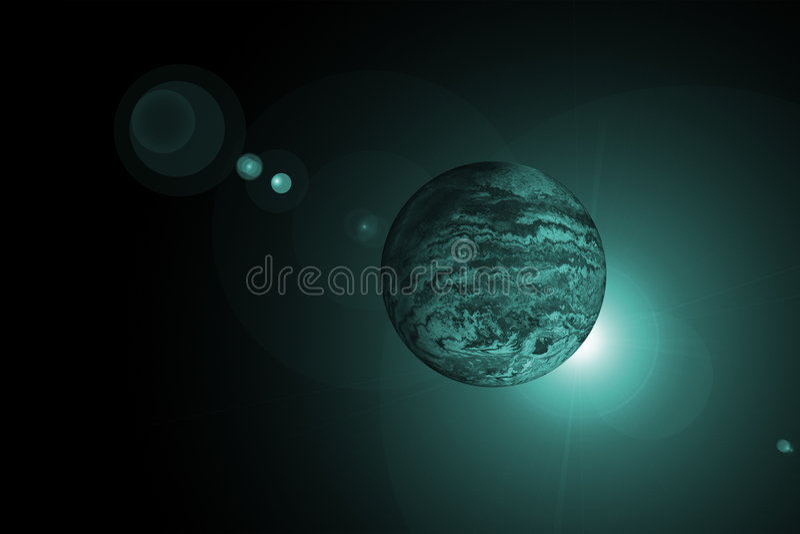 Planeta com nascer do sol ilustração do vetor