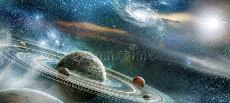 Planeta Con El Sistema Prominente Numeroso Del Anillo Fotografía de archivo