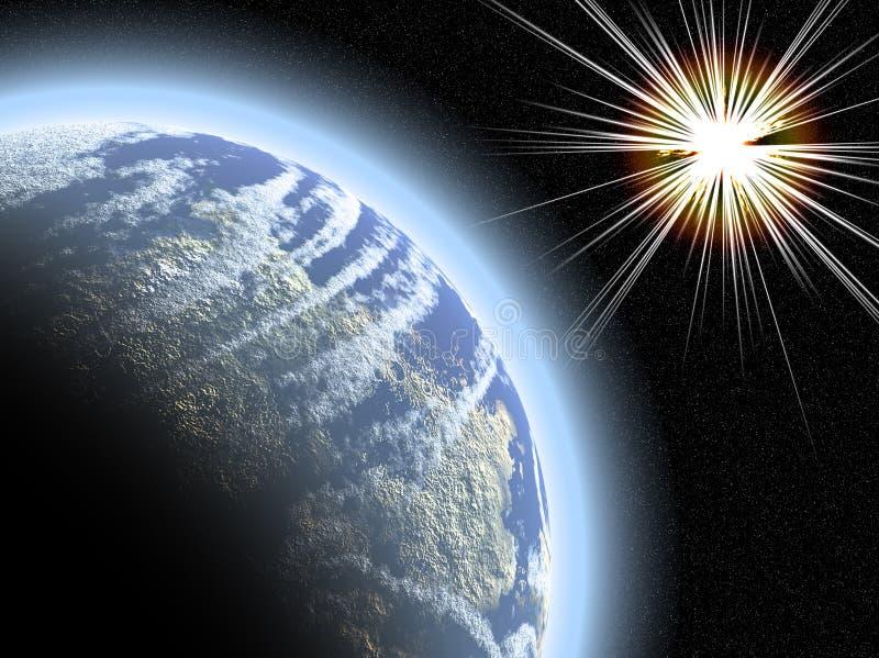 Planeta con el starburst stock de ilustración