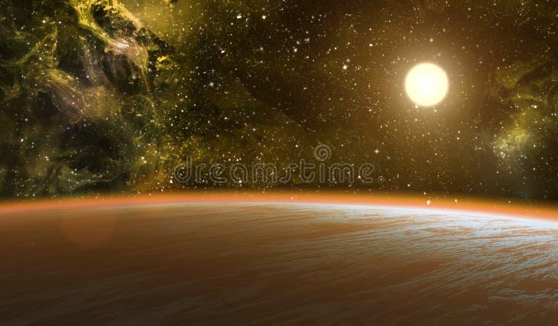 Planeta con la estrella brillante. stock de ilustración
